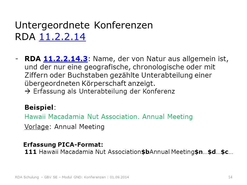 Untergeordnete Konferenzen RDA 11.2.2.14 11.2.2.14 -RDA 11.2.2.14.3: Name, der von Natur aus allgemein ist, und der nur eine geografische, chronologis