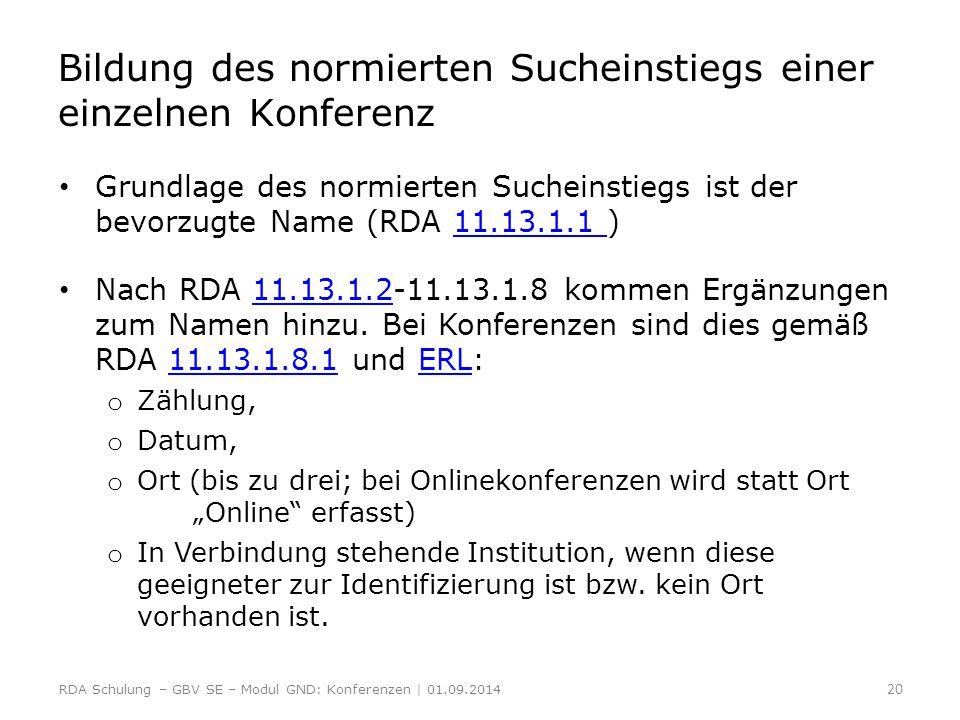 Bildung des normierten Sucheinstiegs einer einzelnen Konferenz Grundlage des normierten Sucheinstiegs ist der bevorzugte Name (RDA 11.13.1.1 )11.13.1.