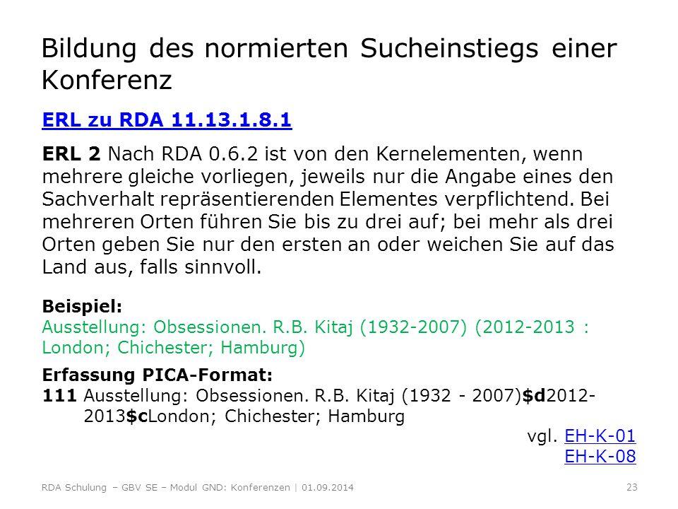 Bildung des normierten Sucheinstiegs einer Konferenz ERL zu RDA 11.13.1.8.1 ERL 2 Nach RDA 0.6.2 ist von den Kernelementen, wenn mehrere gleiche vorli