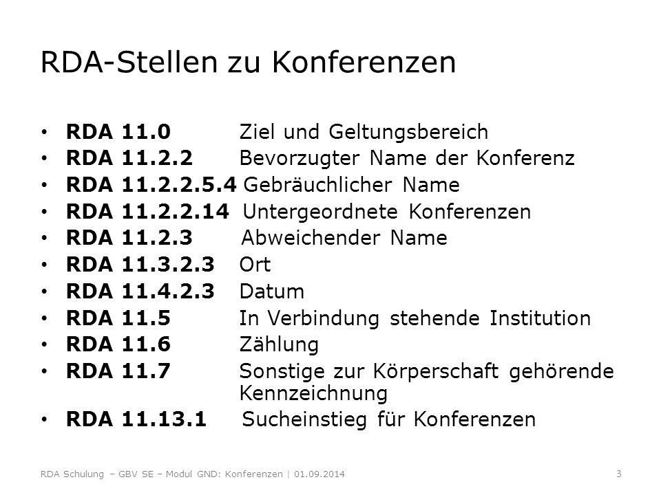 Bildung des normierten Sucheinstiegs einer einzelnen Konferenz ERL zu RDA 11.13.1.8.1 ERL 3 Erfassen Sie spezifische Daten in der Form TT.MM.JJJJ Beispiel: Federal-Provincial Conference of First Ministers (13.-15.02.