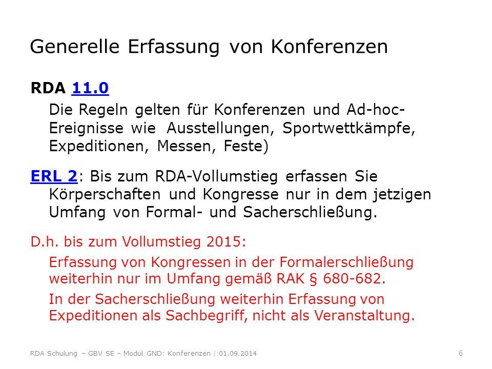 Generelle Erfassung von Konferenzen RDA 11.011.0 Die Regeln gelten für Konferenzen und Ad-hoc- Ereignisse wie Ausstellungen, Sportwettkämpfe, Expediti