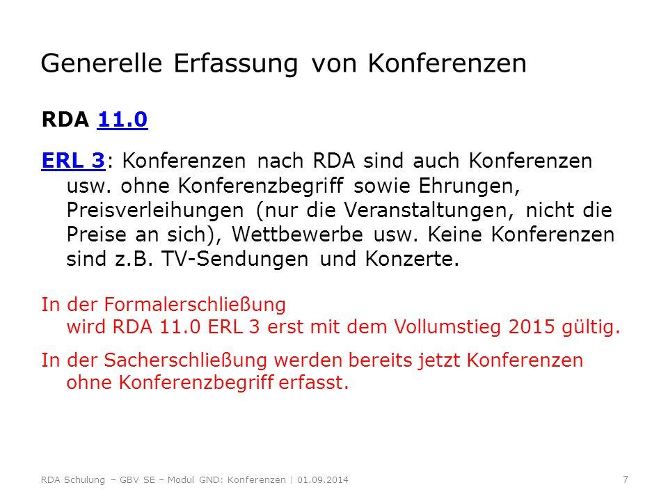 Bevorzugter Name der Konferenz RDA 11.2.2 11.2.2 = Kernelement Die Erfassung erfolgt nach den allgemeinen Regeln für Körperschaften.