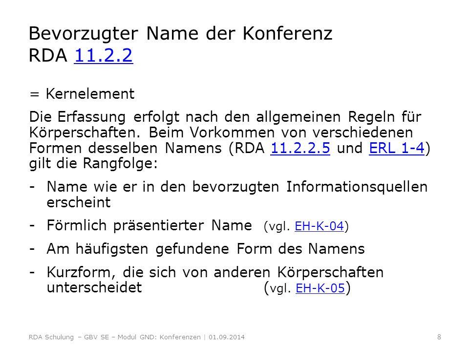 Bevorzugter Name der Konferenz RDA 11.2.2; 11.2.2.5 und ERL 1-4 11.2.211.2.2.5ERL 1-4 Beispiel für einen förmlich präsentierten Namen: Vorlage: International Symposium on Medicinal and Aromatic Plants - SIPAM 2012  Bevorzugter Name ist die Langform: International Symposium on Medicinal and Aromatic Plants Ausnahme Kurzform bei Konferenzen: besteht die einzig vorkommende Namensform aus den Initialen des Veranstalters, muss sie nicht eindeutig sein.