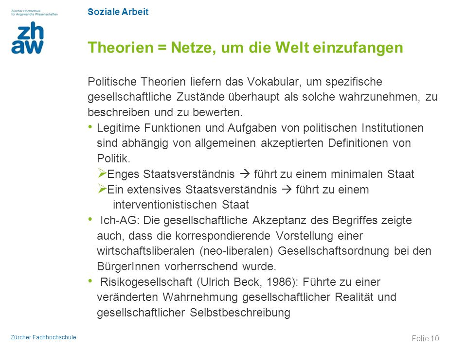 Soziale Arbeit Zürcher Fachhochschule Theorien = Netze, um die Welt einzufangen Politische Theorien liefern das Vokabular, um spezifische gesellschaft