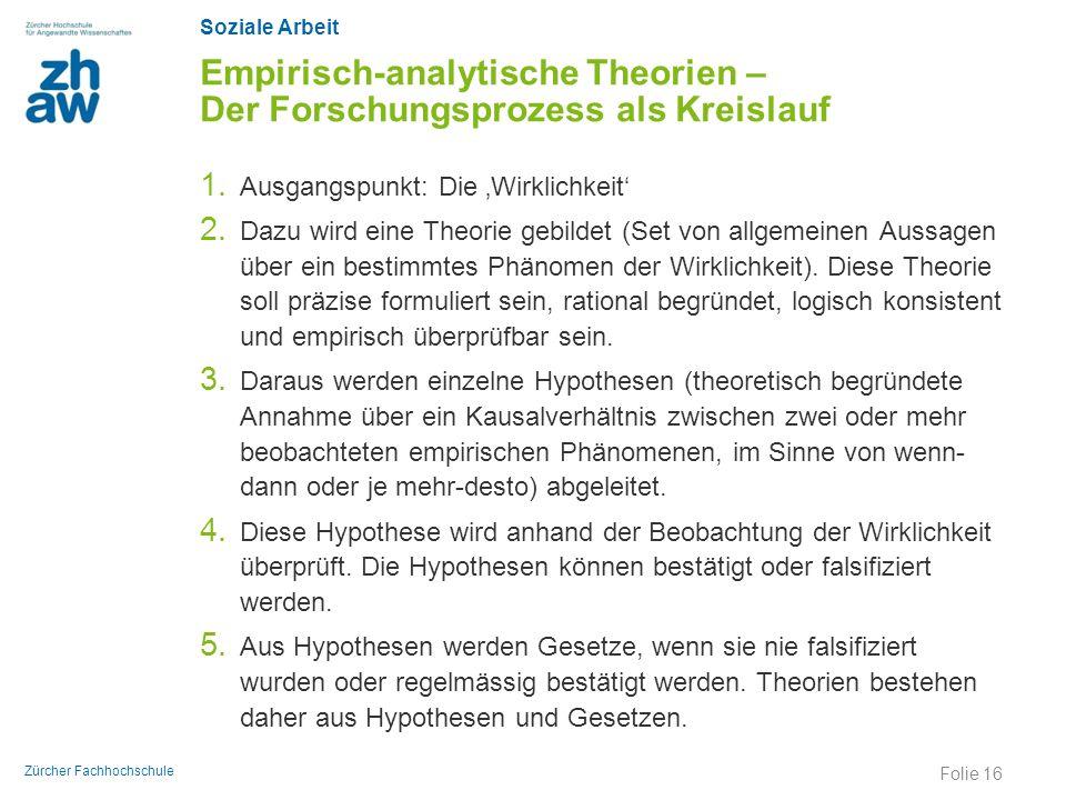 Soziale Arbeit Zürcher Fachhochschule Empirisch-analytische Theorien – Der Forschungsprozess als Kreislauf 1. Ausgangspunkt: Die 'Wirklichkeit' 2. Daz