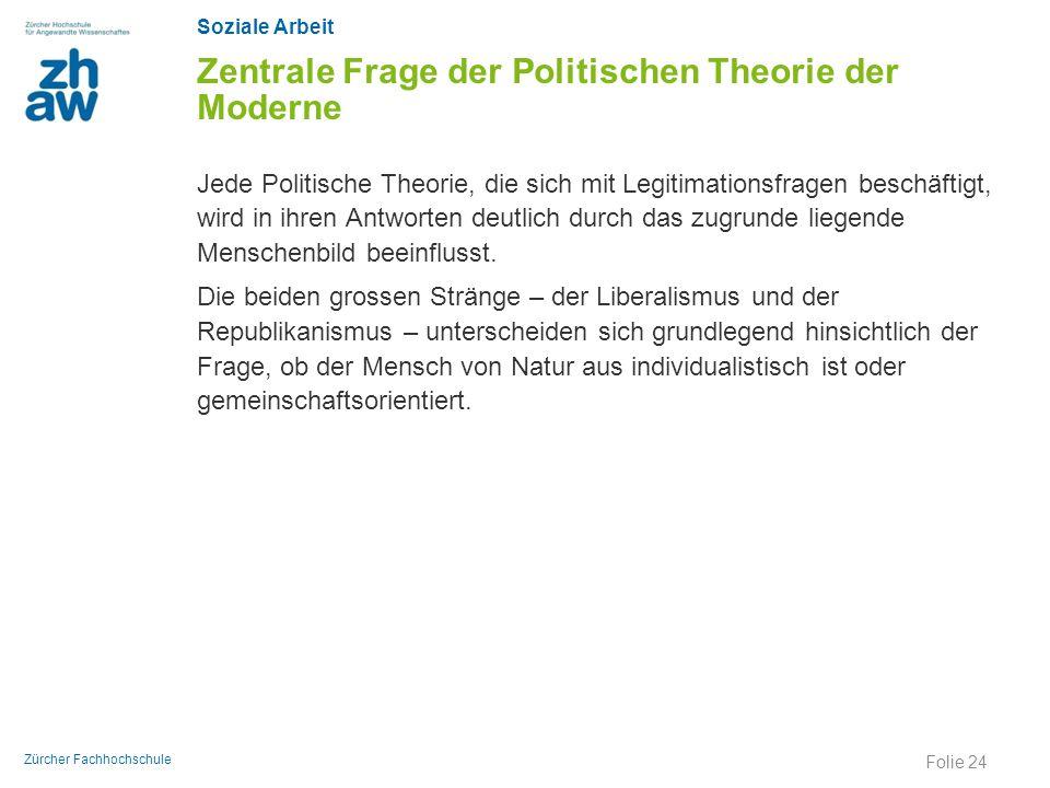 Soziale Arbeit Zürcher Fachhochschule Zentrale Frage der Politischen Theorie der Moderne Jede Politische Theorie, die sich mit Legitimationsfragen bes