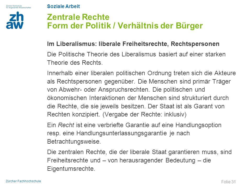 Soziale Arbeit Zürcher Fachhochschule Zentrale Rechte Form der Politik / Verhältnis der Bürger Im Liberalismus: liberale Freiheitsrechte, Rechtsperson