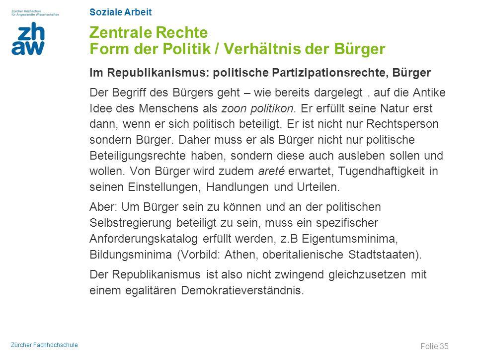 Soziale Arbeit Zürcher Fachhochschule Zentrale Rechte Form der Politik / Verhältnis der Bürger Im Republikanismus: politische Partizipationsrechte, Bü