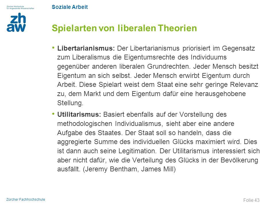 Soziale Arbeit Zürcher Fachhochschule Spielarten von liberalen Theorien Libertarianismus: Der Libertarianismus priorisiert im Gegensatz zum Liberalism