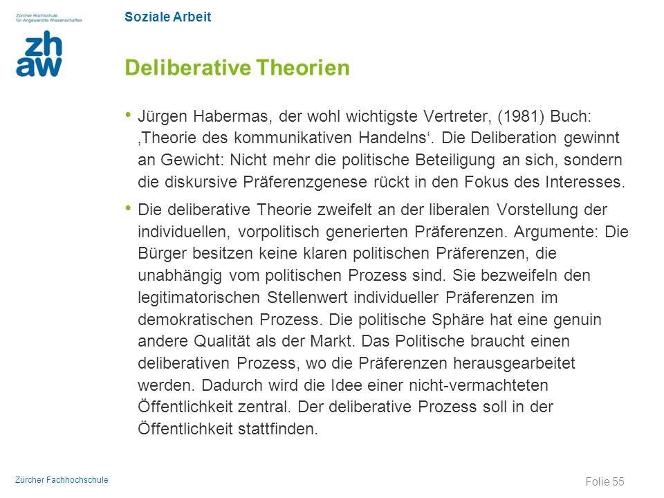 Soziale Arbeit Zürcher Fachhochschule Deliberative Theorien Jürgen Habermas, der wohl wichtigste Vertreter, (1981) Buch: 'Theorie des kommunikativen H