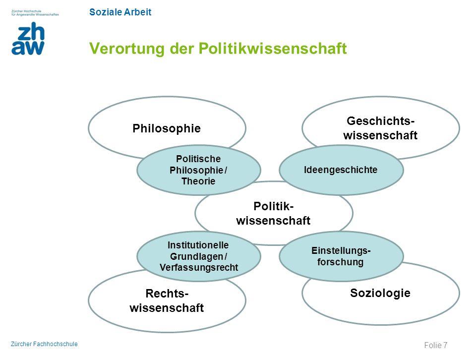 Soziale Arbeit Zürcher Fachhochschule Verortung der Politikwissenschaft Politik- wissenschaft Soziologie Rechts- wissenschaft Institutionelle Grundlag