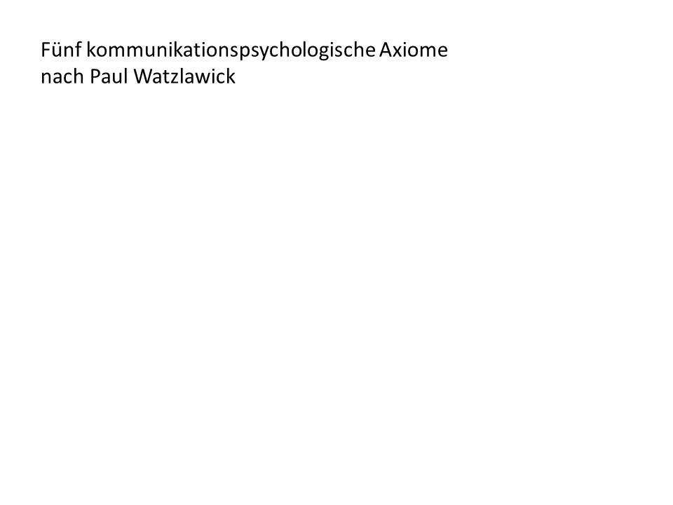 Fünf kommunikationspsychologische Axiome nach Paul Watzlawick