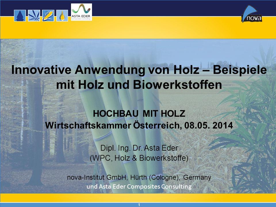 1 Innovative Anwendung von Holz – Beispiele mit Holz und Biowerkstoffen HOCHBAU MIT HOLZ Wirtschaftskammer Österreich, 08.05. 2014 Dipl. Ing. Dr. Asta