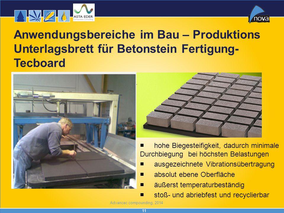 11 Anwendungsbereiche im Bau – Produktions Unterlagsbrett für Betonstein Fertigung- Tecboard ■hohe Biegesteifigkeit, dadurch minimale Durchbiegung bei