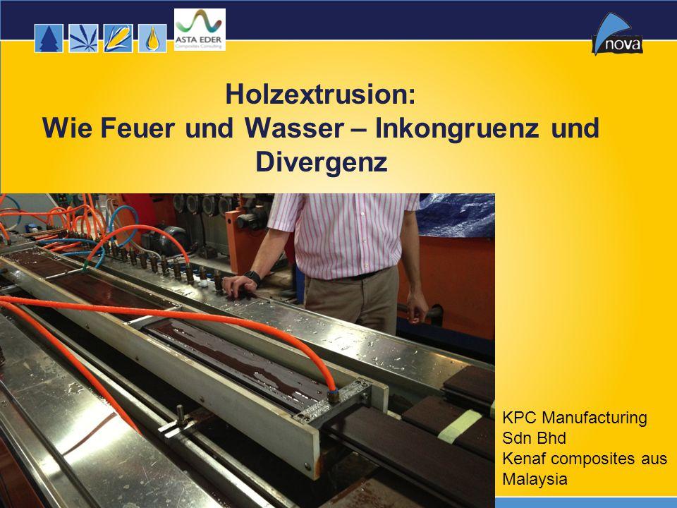 13 Holzextrusion: Wie Feuer und Wasser – Inkongruenz und Divergenz KPC Manufacturing Sdn Bhd Kenaf composites aus Malaysia