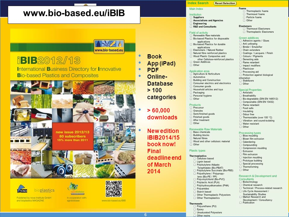 6 www.bio-based.eu/iBIB Book App (iPad) PDF Online- Database > 100 categories > 60,000 downloads New edition iBIB2014/15 book now! Final deadline end