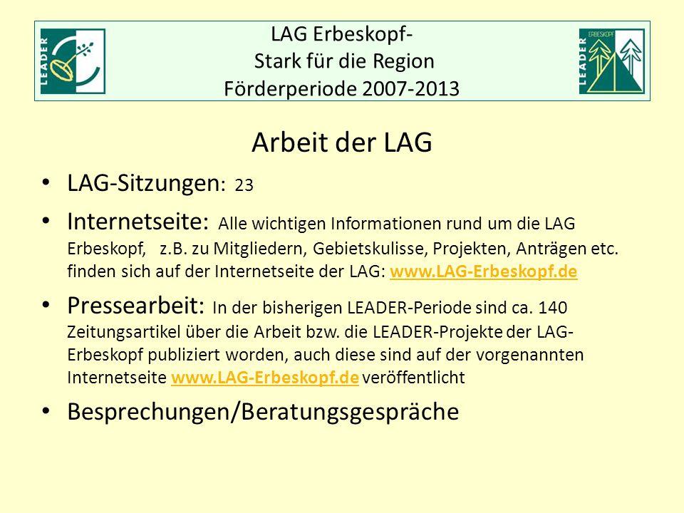 LAG Erbeskopf- Stark für die Region Förderperiode 2007-2013 Arbeit der LAG LAG-Sitzungen : 23 Internetseite: Alle wichtigen Informationen rund um die