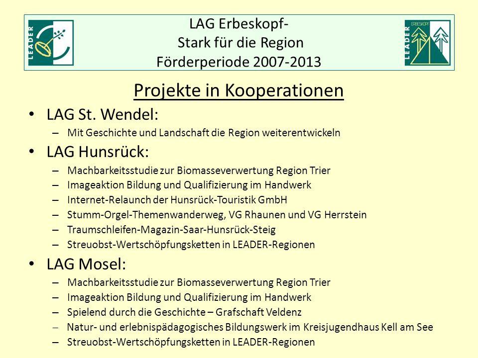 LAG Erbeskopf- Stark für die Region Förderperiode 2007-2013 Projekte in Kooperationen LAG St. Wendel: – Mit Geschichte und Landschaft die Region weite