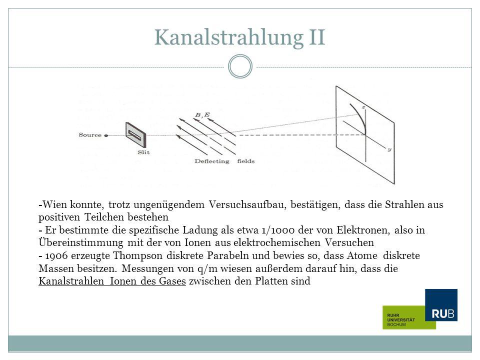 Kanalstrahlung II -Wien konnte, trotz ungenügendem Versuchsaufbau, bestätigen, dass die Strahlen aus positiven Teilchen bestehen - Er bestimmte die sp
