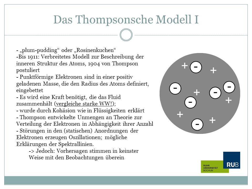 """Das Thompsonsche Modell I - """"plum-pudding"""" oder """"Rosinenkuchen"""" -Bis 1911: Verbreitetes Modell zur Beschreibung der inneren Struktur des Atoms, 1904 v"""