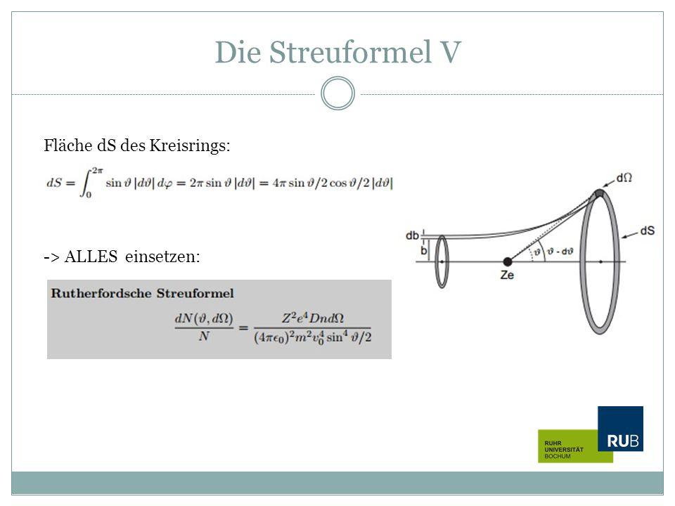 Die Streuformel V -> ALLES einsetzen: Fläche dS des Kreisrings: