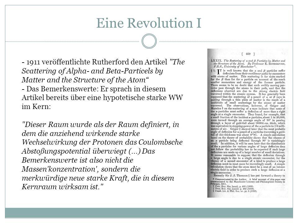 Eine Revolution I - 1911 veröffentlichte Rutherford den Artikel