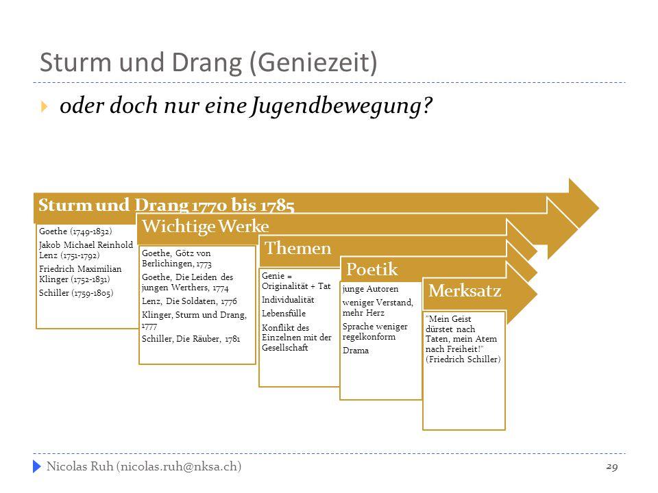 Sturm und Drang (Geniezeit)  oder doch nur eine Jugendbewegung? Nicolas Ruh (nicolas.ruh@nksa.ch) Sturm und Drang 1770 bis 1785 Goethe (1749-1832) Ja