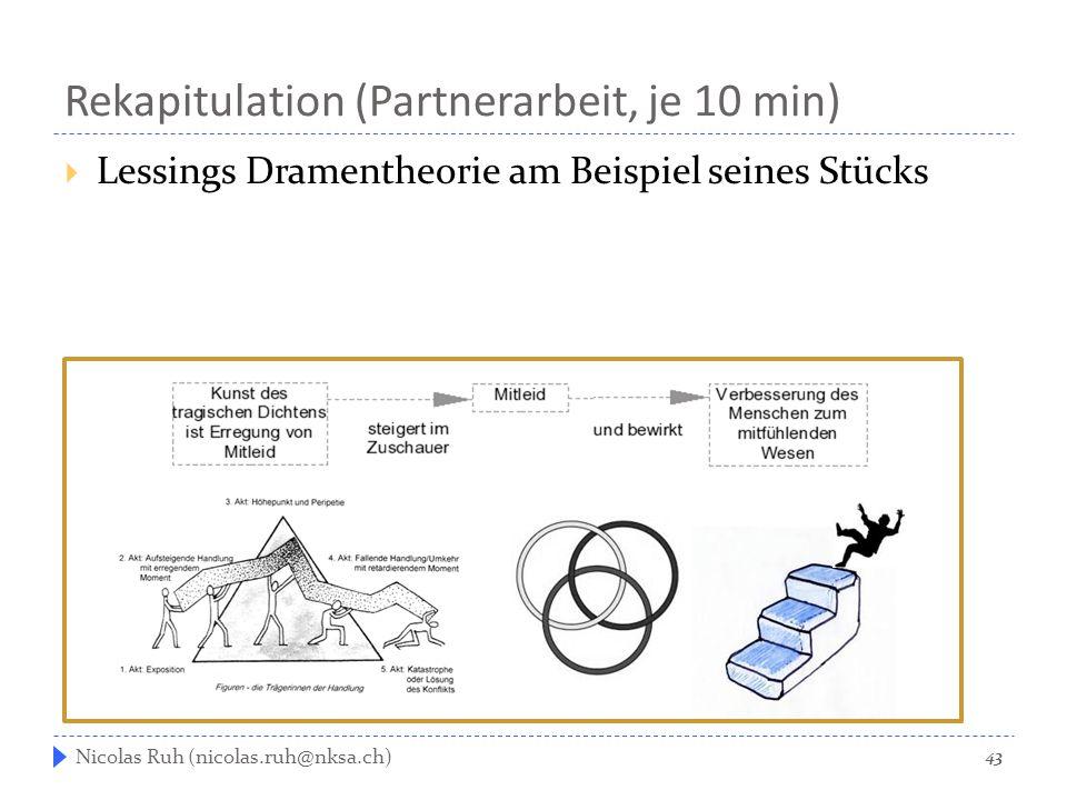 Rekapitulation (Partnerarbeit, je 10 min)  Lessings Dramentheorie am Beispiel seines Stücks 43 Nicolas Ruh (nicolas.ruh@nksa.ch)