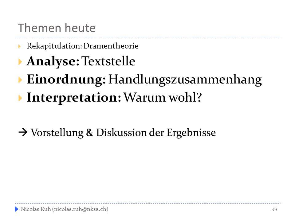 Themen heute  Rekapitulation: Dramentheorie  Analyse: Textstelle  Einordnung: Handlungszusammenhang  Interpretation: Warum wohl?  Vorstellung & D