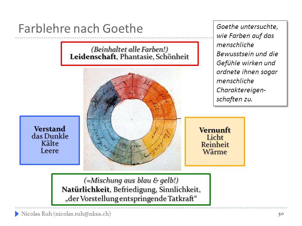 Farblehre nach Goethe Nicolas Ruh (nicolas.ruh@nksa.ch) Goethe untersuchte, wie Farben auf das menschliche Bewusstsein und die Gefühle wirken und ordn