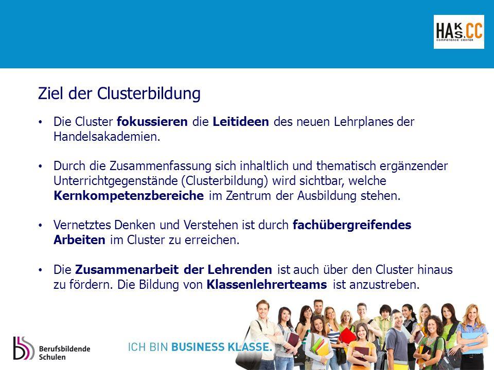 Ziel der Clusterbildung Die Cluster fokussieren die Leitideen des neuen Lehrplanes der Handelsakademien.
