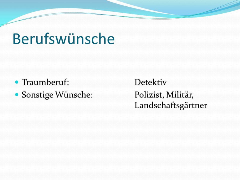 Berufswünsche Traumberuf: Detektiv Sonstige Wünsche: Polizist, Militär, Landschaftsgärtner