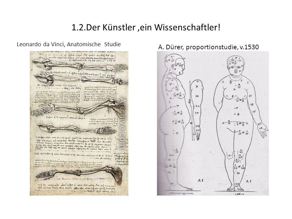 1.2.Der Künstler,ein Wissenschaftler! Leonardo da Vinci, Anatomische Studie A. Dürer, proportionstudie, v.1530