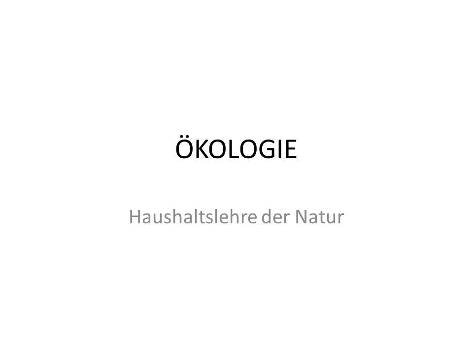 """Definition """" Unter Oecologie verstehen wir die gesamte Wissen-schaft von den Beziehungen des Organismus zur umgebenden Außenwelt, wohin wir im weiteren Sinne alle rechnen können. E.H."""