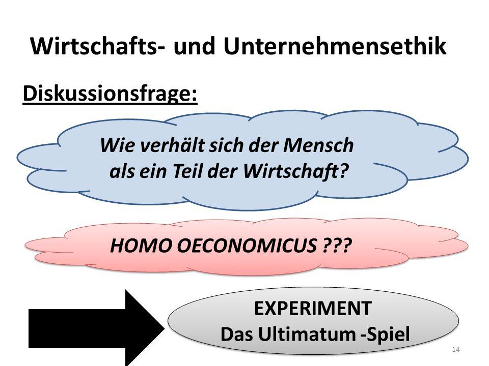Wirtschafts- und Unternehmensethik 14 Diskussionsfrage: Wie verhält sich der Mensch als ein Teil der Wirtschaft? HOMO OECONOMICUS ??? EXPERIMENT Das U