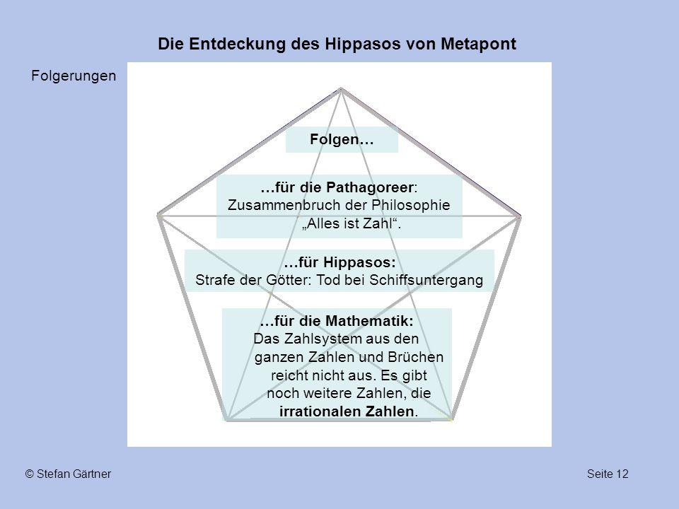"""Die Entdeckung des Hippasos von Metapont Seite 12© Stefan Gärtner …für die Pathagoreer: Zusammenbruch der Philosophie """"Alles ist Zahl"""". …für Hippasos:"""