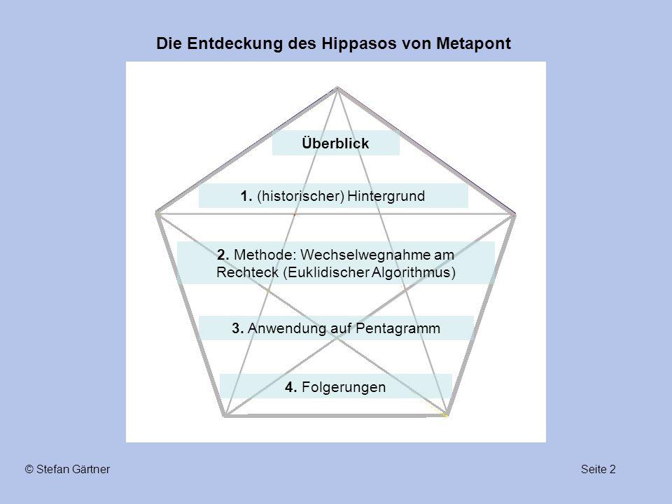 Die Entdeckung des Hippasos von Metapont Seite 2© Stefan Gärtner 1. (historischer) Hintergrund 2. Methode: Wechselwegnahme am Rechteck (Euklidischer A