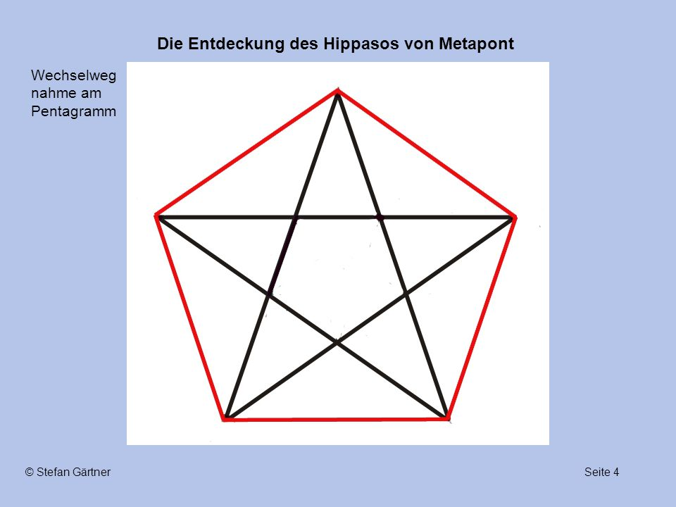 Die Entdeckung des Hippasos von Metapont Seite 4© Stefan Gärtner Wechselweg nahme am Pentagramm