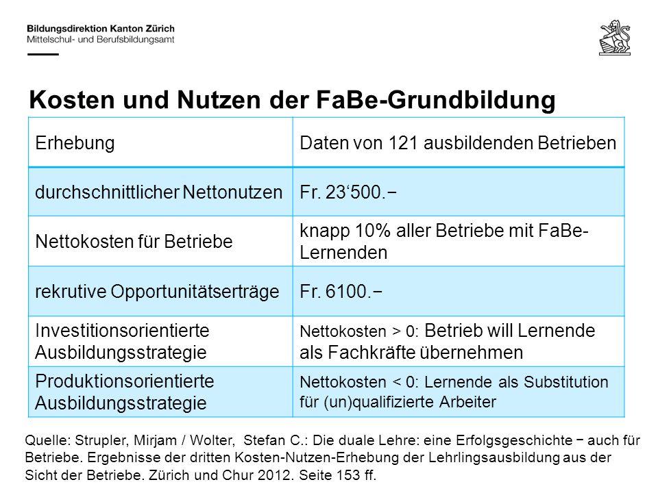 Kosten und Nutzen der FaBe-Grundbildung Quelle: Strupler, Mirjam / Wolter, Stefan C.: Die duale Lehre: eine Erfolgsgeschichte − auch für Betriebe. Erg
