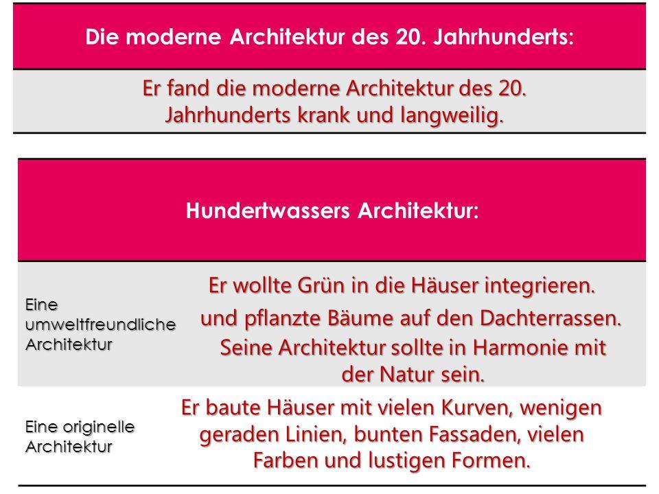 Die moderne Architektur des 20.Jahrhunderts: Er fand die moderne Architektur des 20.
