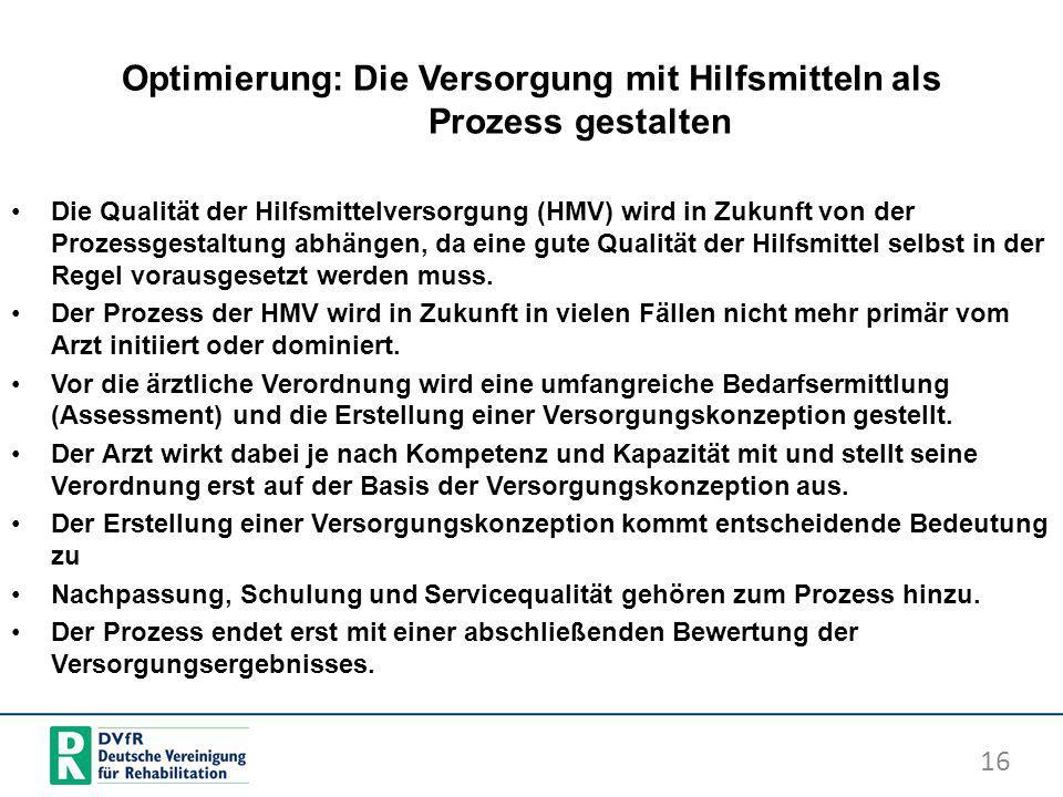 Optimierung: Die Versorgung mit Hilfsmitteln als Prozess gestalten Die Qualität der Hilfsmittelversorgung (HMV) wird in Zukunft von der Prozessgestalt