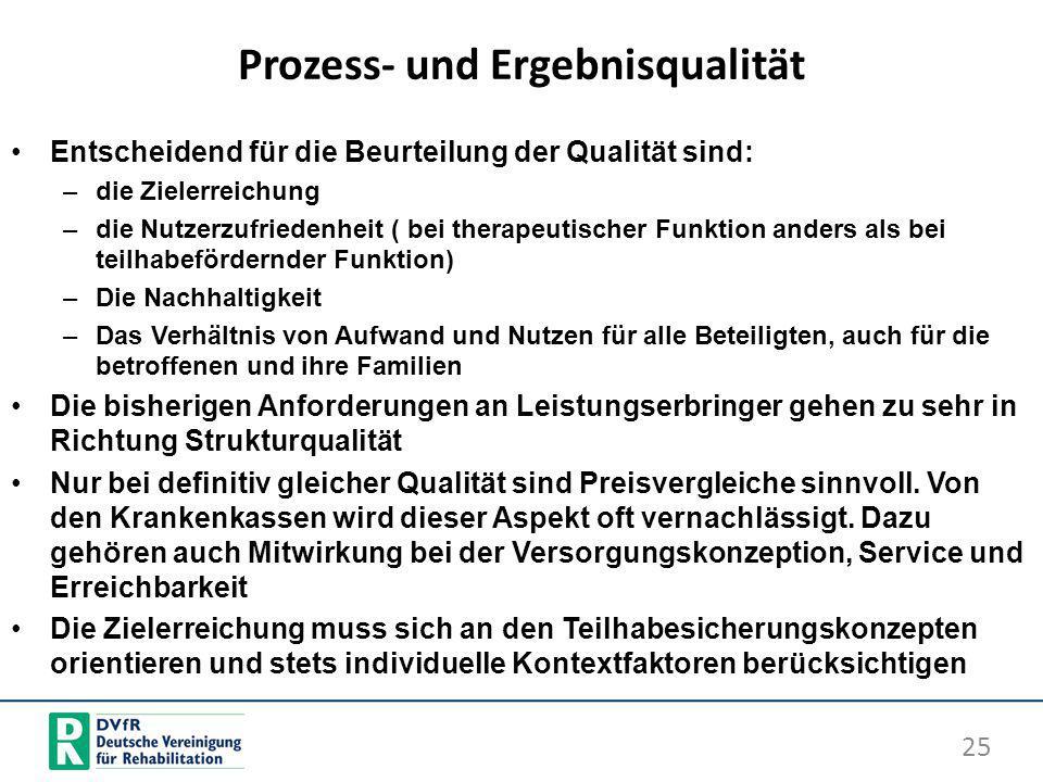 Prozess- und Ergebnisqualität Entscheidend für die Beurteilung der Qualität sind: –die Zielerreichung –die Nutzerzufriedenheit ( bei therapeutischer F
