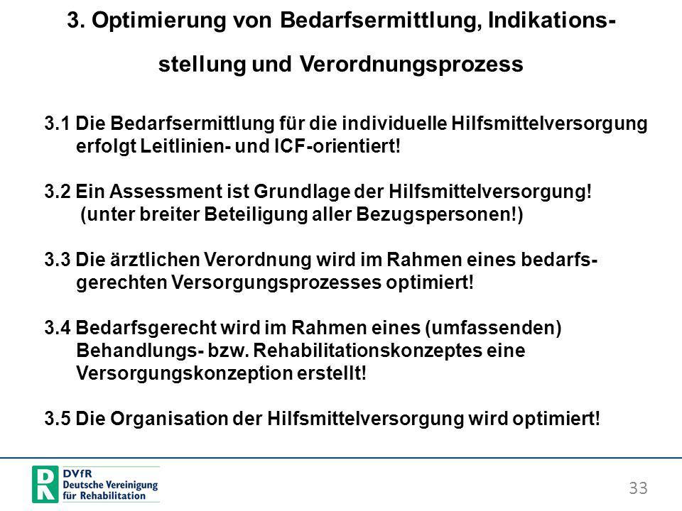 3. Optimierung von Bedarfsermittlung, Indikations- stellung und Verordnungsprozess 33 3.1 Die Bedarfsermittlung für die individuelle Hilfsmittelversor