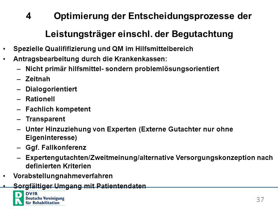 4Optimierung der Entscheidungsprozesse der Leistungsträger einschl. der Begutachtung Spezielle Qualififizierung und QM im Hilfsmittelbereich Antragsbe