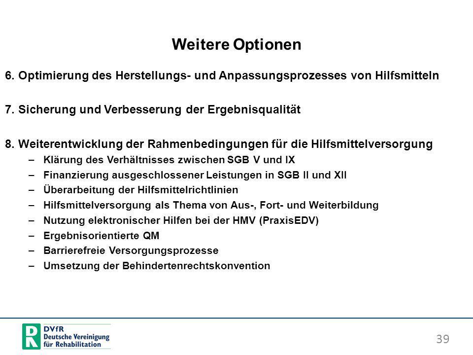 Weitere Optionen 6. Optimierung des Herstellungs- und Anpassungsprozesses von Hilfsmitteln 7. Sicherung und Verbesserung der Ergebnisqualität 8. Weite