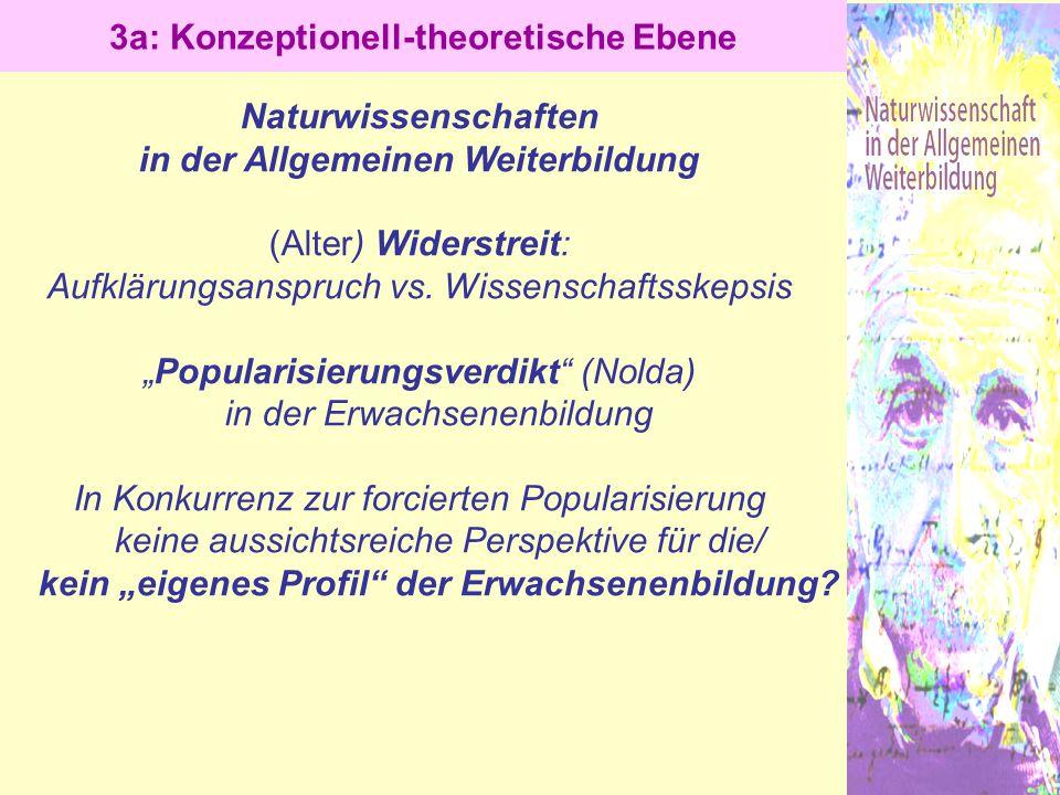 """Naturwissenschaften in der Allgemeinen Weiterbildung (Alter) Widerstreit: Aufklärungsanspruch vs. Wissenschaftsskepsis """"Popularisierungsverdikt"""" (Nold"""