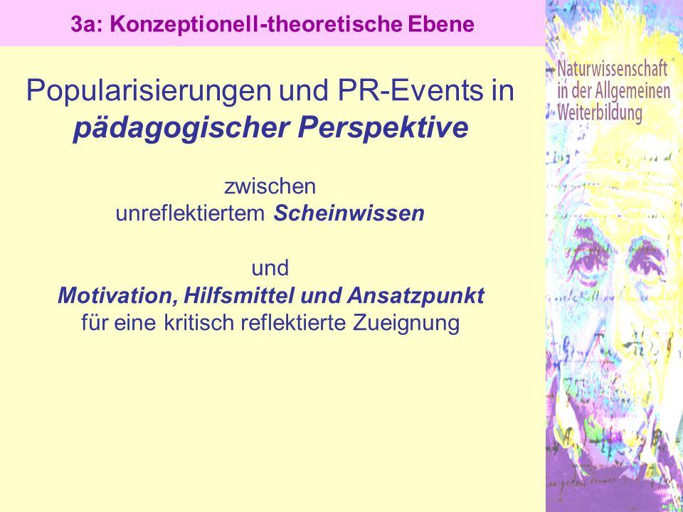 Popularisierungen und PR-Events in pädagogischer Perspektive zwischen unreflektiertem Scheinwissen und Motivation, Hilfsmittel und Ansatzpunkt für ein