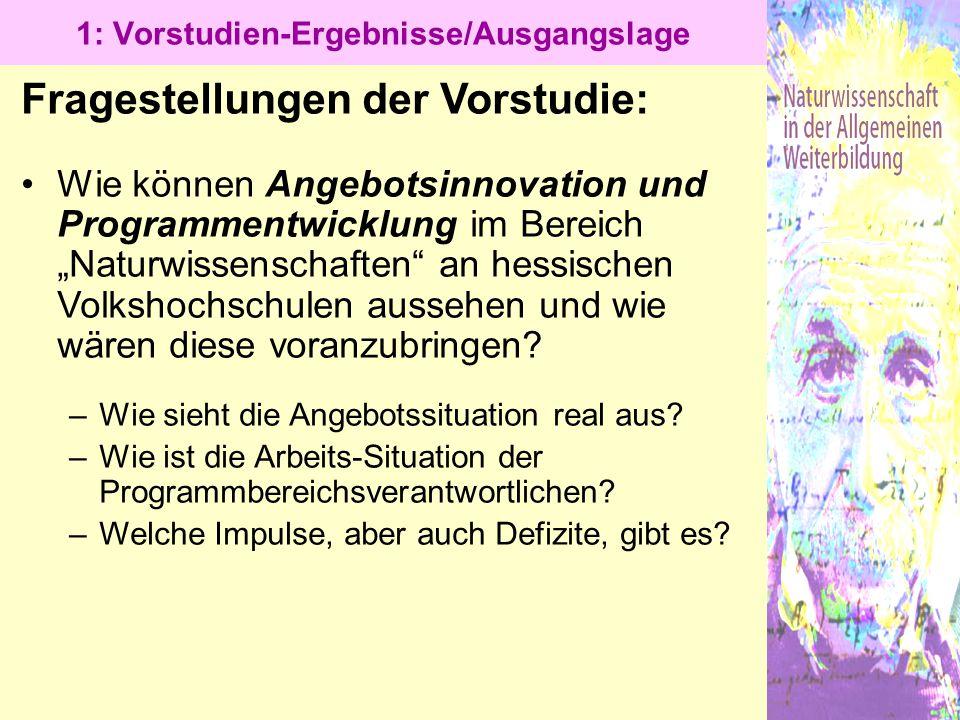 """1: Vorstudien-Ergebnisse/Ausgangslage Fragestellungen der Vorstudie: Wie können Angebotsinnovation und Programmentwicklung im Bereich """"Naturwissenscha"""