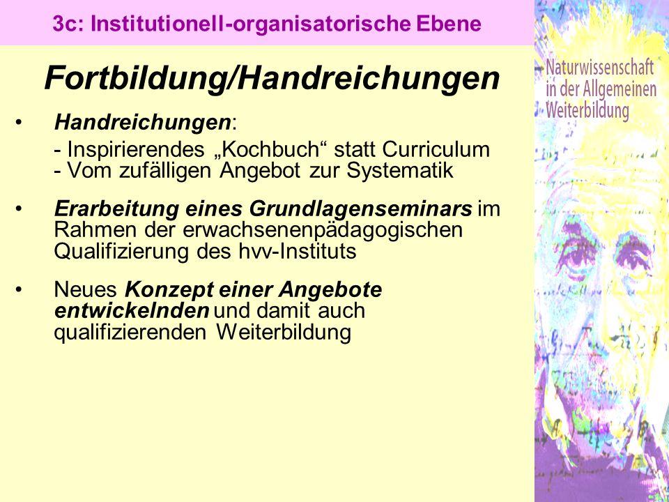 """Fortbildung/Handreichungen Handreichungen: - Inspirierendes """"Kochbuch"""" statt Curriculum - Vom zufälligen Angebot zur Systematik Erarbeitung eines Grun"""