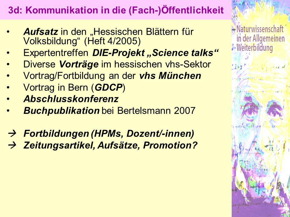 """Aufsatz in den """"Hessischen Blättern für Volksbildung"""" (Heft 4/2005) Expertentreffen DIE-Projekt """"Science talks"""" Diverse Vorträge im hessischen vhs-Sek"""
